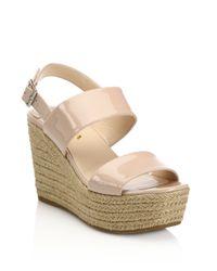 Prada | Natural Patent Leather Espadrille Platform Wedge Sandals | Lyst