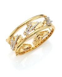 Roberto Coin | Metallic Cheval Diamond, 18k Yellow Gold & 18k White Gold Bangle Bracelet | Lyst