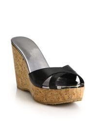Jimmy Choo   Black Perfume 100 Leather & Cork Platform Wedge Sandals   Lyst
