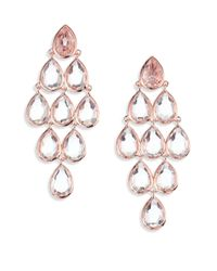 Ippolita | Pink Rose Rock Candy Clear Quartz Teardrop Chandelier Earrings | Lyst