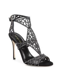 Sergio Rossi | Black Tresor Swarovski Crystal And Suede Sandals | Lyst