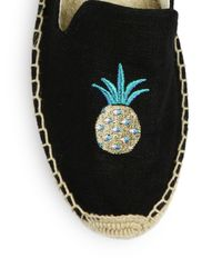 Soludos | Black Pineapple Smoking Slipper Espadrilles | Lyst