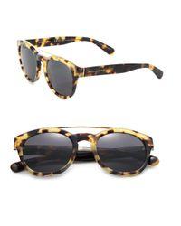 Dolce & Gabbana | Brown Phantos 50mm Round Acetate & Metal Sunglasses | Lyst