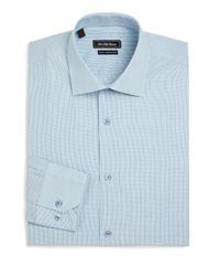 Saks Fifth Avenue   Blue Slim-fit Check Cotton Dress Shirt for Men   Lyst