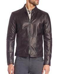 Armani   Black Leather Biker Jacket for Men   Lyst