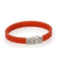 John Hardy | Orange Classic Chain Sterling Silver & Leather Bracelet | Lyst