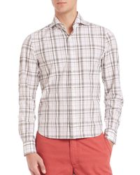 Eidos | Gray Slim-fit Plaid Sportshirt for Men | Lyst