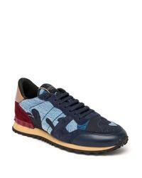 Valentino - Blue Rockrunner Denim Camo Studded Sneaker - Lyst