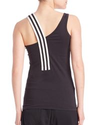 Y-3 - Black Asymmetrical Strap Tank Top - Lyst