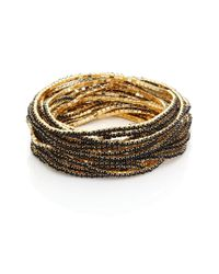 ABS By Allen Schwartz - Metallic Faceted Stretch Bracelets/set Of 20 - Lyst