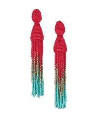 Oscar de la Renta | Metallic Long Ombre-beaded Tassel Clip-on Earrings | Lyst