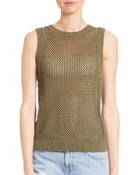 Current/Elliott - Natural Sleeveless Rope-stitch Top - Lyst