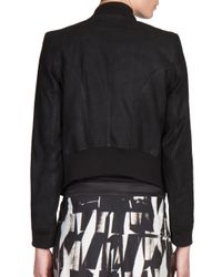 Ann Demeulemeester - Black Cropped Leather Bomber Jacket - Lyst