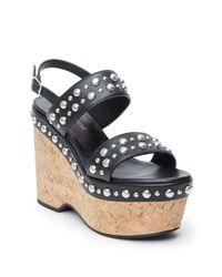 Saint Laurent - Natural Candy Studded Leather Platform Wedge Sandals - Lyst