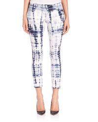 J Brand - Blue Photo Ready Tie-dye Mid-rise Capri Jeans - Lyst