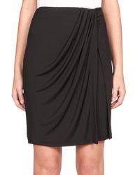 Carven | Black Draped Jersey Skirt | Lyst