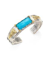 Konstantino | Metallic Iliada Chrysocolla, Quartz Doublet, 18k Yellow Gold & Sterling Silver Cuff Bracelet | Lyst