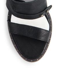 Frēda Salvador - Black Glide Monk-strap Leather Mule Sandals - Lyst