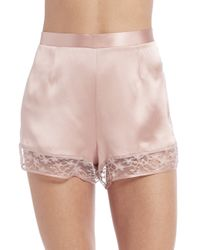 Fleur du Mal | Pink Silk Satin Star Lace Tap Shorts | Lyst