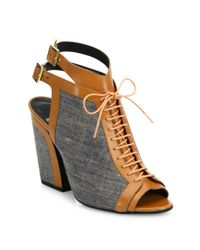 Pierre Hardy - Gray Faye Cotton & Leather Lace-up Sandals - Lyst