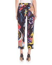 Etro - Black Printed Silk-georgette Wide-leg Pants - Lyst