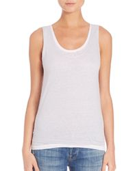 Majestic Filatures White Double Layer Linen Tank Top
