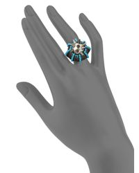 Gucci - Gray Spiked Faux Pearl Ring - Lyst