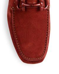 Ferragamo - Gray Parigi Suede Tonal Bit Loafers for Men - Lyst