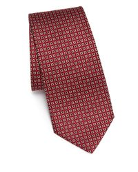Ferragamo | Red Diamond Print Silk Tie for Men | Lyst