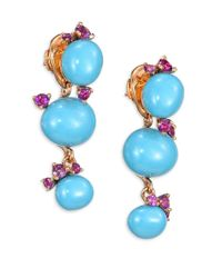 Pomellato | Metallic Amethyst & Turquoise Ceramic Round Drop Earrings | Lyst