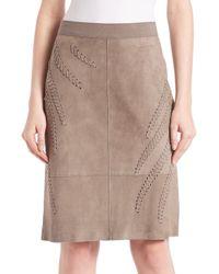 Elie Tahari - Brown Haley Suede Whip Stitch Skirt - Lyst