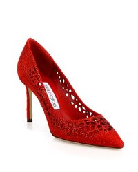 Jimmy Choo Red Romy Momento Lasercut Suede Pumps