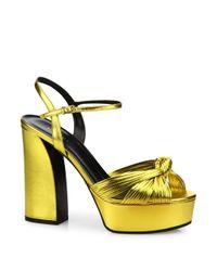 Gucci | Allie Knotted Metallic Leather Platform Sandals | Lyst