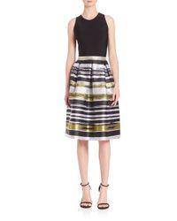 Carmen Marc Valvo - Multicolor Box Pleated A-line Striped Dress - Lyst