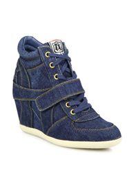 Ash - Blue Bowie Denim Wedge Sneakers - Lyst