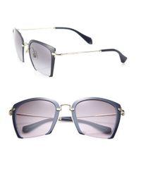 Miu Miu | Metallic 52mm Semi-rimless Acetate & Metal Square Sunglasses | Lyst