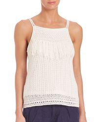 Joie | White Olesia Crochet Fringe Tank Top | Lyst