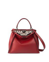 Fendi | Red Peekaboo Medium Leather & Snakeskin Satchel | Lyst