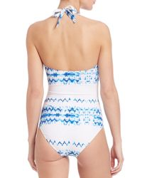 Heidi Klein - Blue One-piece Halter Tie Swimsuit - Lyst