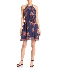 Joie - Blue Valetta Silk Floral-print Dress - Lyst