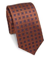 Saks Fifth Avenue | Blue Geometric Silk Tie for Men | Lyst