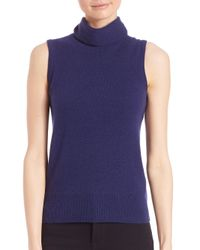 Saks Fifth Avenue | Blue Cashmere Turtleneck Shell | Lyst