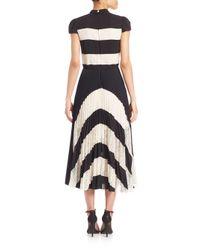 Alice + Olivia - Black Gale Panel Collared Cap Sleeve Pleated Dress - Lyst