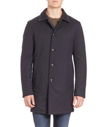 Saks Fifth Avenue | Blue Reversible Quilted Wool Blend Coat for Men | Lyst