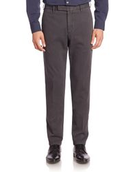 Armani | Green Flat-front Stretch-cotton Trousers for Men | Lyst
