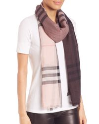 Burberry - Pink Giant Ombre Check Wool & Silk Scarf - Lyst