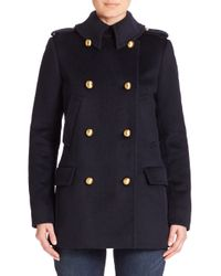 MICHAEL Michael Kors | Blue Wool Peacoat W/ Faux Leather | Lyst