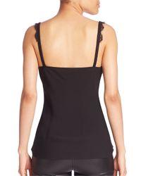 Diane von Furstenberg - Black Margarit Silk Lace-trim Top - Lyst