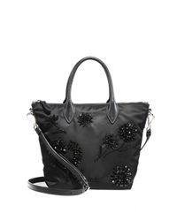 Prada | Black Floral-beaded Nylon Tote | Lyst