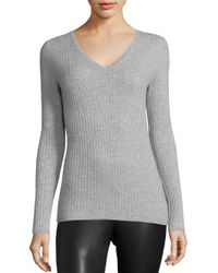 Saks Fifth Avenue | Gray Ribbed Long Sleeve Cashmere Top | Lyst